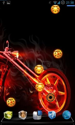Fill your desktop android with this live wallpaper of Skull Bike Fire