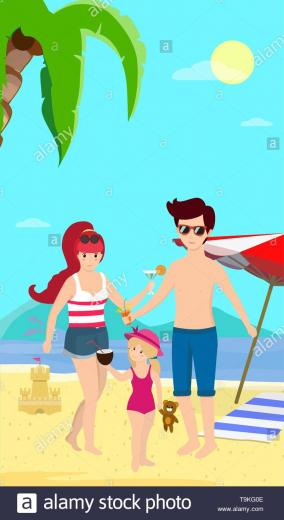 Happy Family at Beach Smiling Parents with Child Stand on Sand