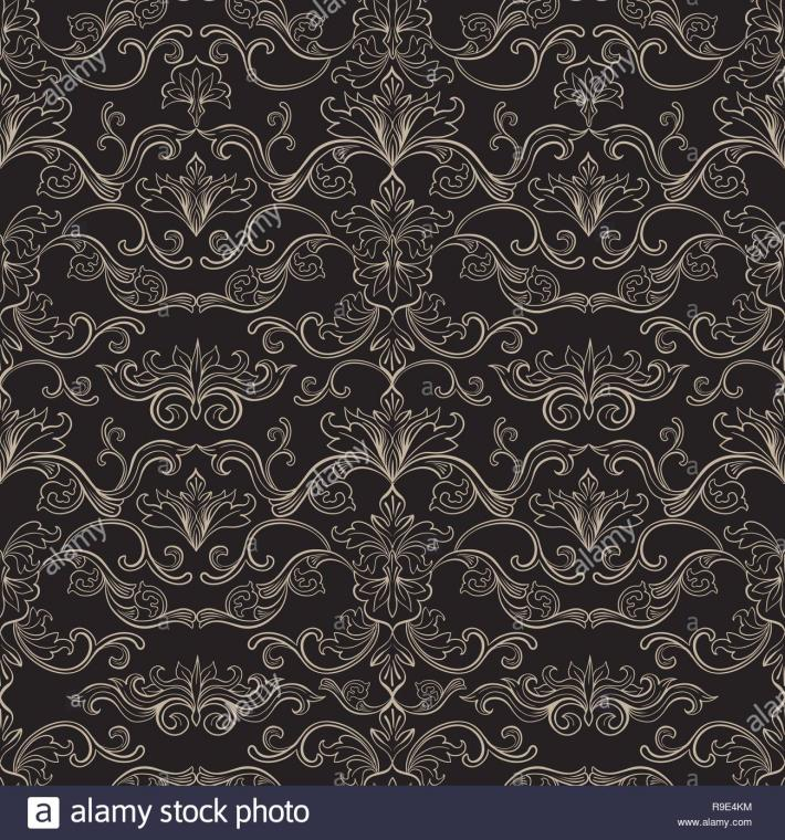 Damask Vector Seamless Pattern Vintage Style Wallpaper Carpet or