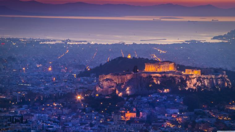 Athens by night 4K HD Desktop Wallpaper for 4K Ultra HD TV