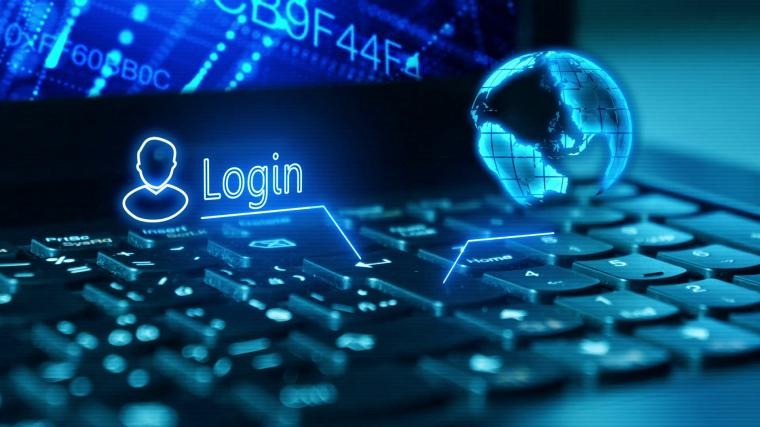Log on to your bank account on a laptop Logging in with security
