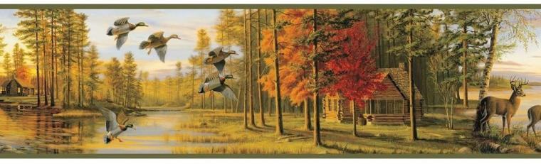 Autumn Evening Wallpaper Border Rustic Log Cabin Water Fowl Deer