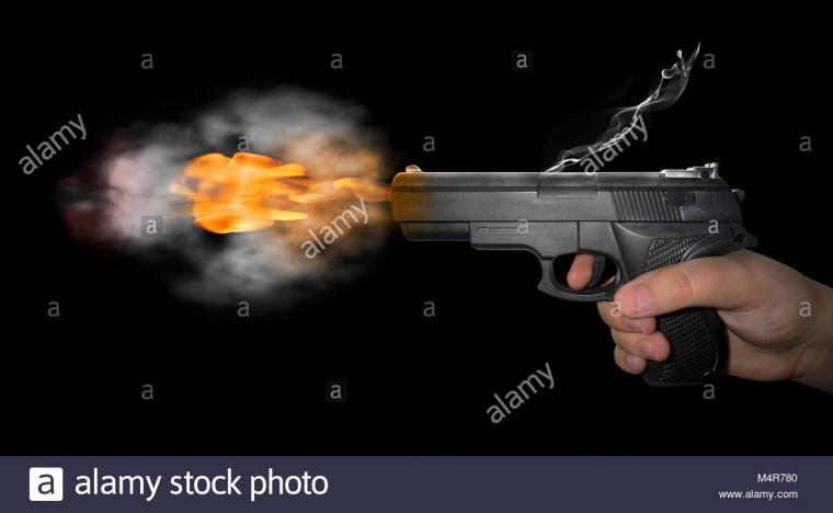 gun shot with smoke on black background Stock Photo 175072912   Alamy