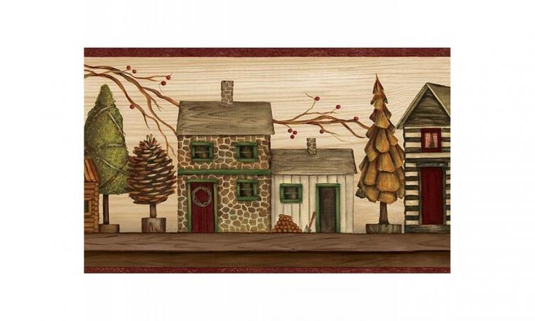 Home Burgundy and Beige Lodge Houses Wallpaper Border