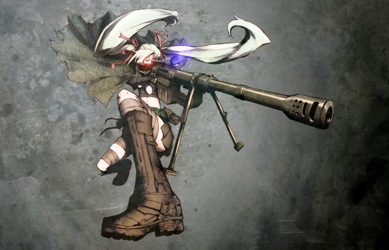 Anime Girl Soldier Sniper Riffle White Hair HD Wallpaper Desktop PC