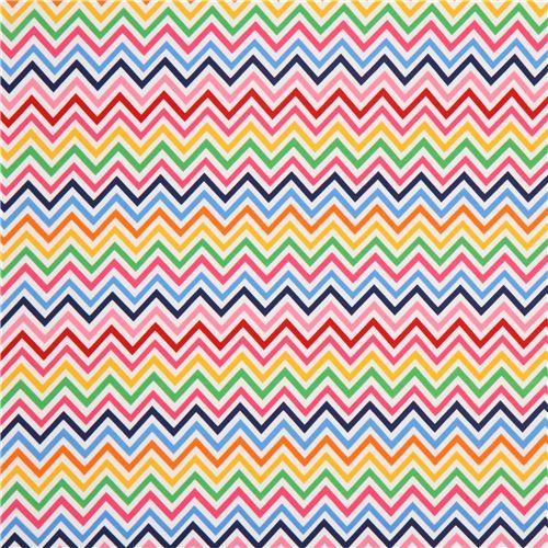 Robert Kaufman knit fabric zig zag pattern pink blue   Knit Fabric