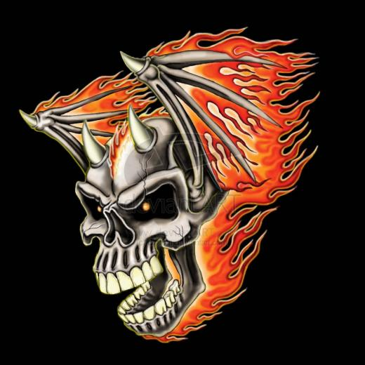 Flying Flaming Skull by Britt8m