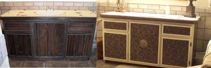 gave these ugly barn wood cabinets a make over by covering the barn