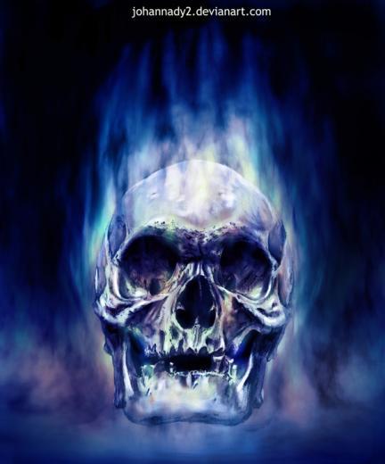 Blue Flaming Skull Wallpaper Blue flaming s