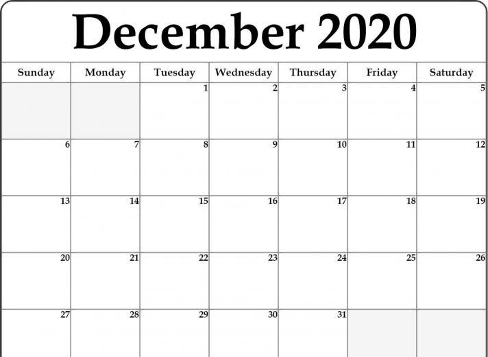 December 2020 Calendar PDF Word Excel Printable Template