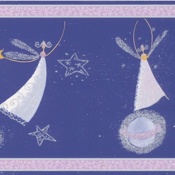 Brewster Dark Blue Celestial Fairy Border Wallpaper   15214778