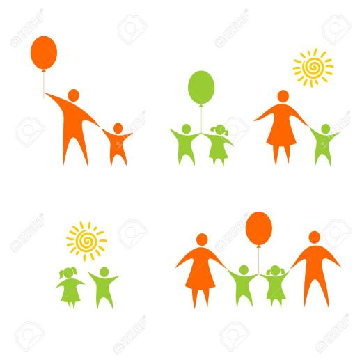 Figures Of Children And Parents On A White Background Royalty