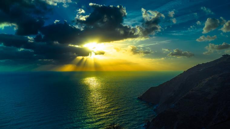 HD Wallpaper 3840x2160 mountains sea ocean clouds night 4K Ultra HD HD
