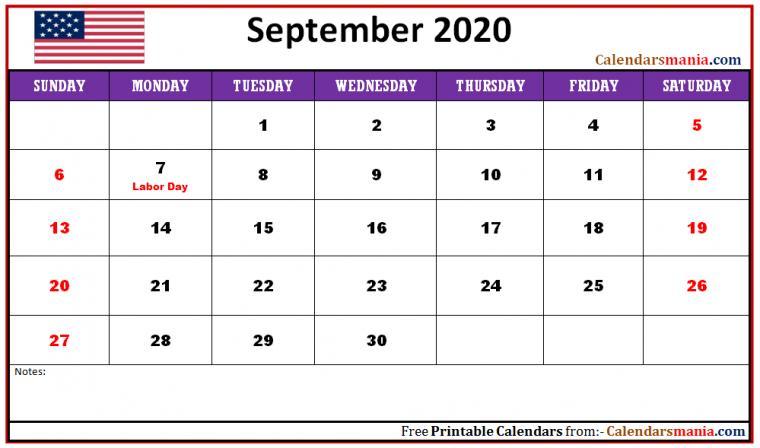 September 2020 USA Holidays Calendar Holiday calendar Usa
