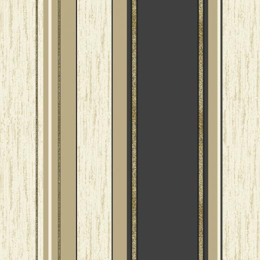 Vymura Synergy Glitter Stripe Wallpaper in Black and Gold   M0909