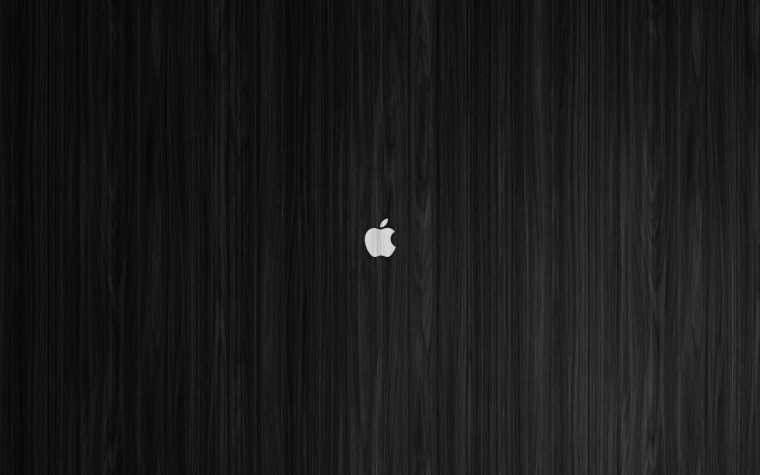 White Apple on Black Wood Mac Wallpaper by ZGraphx