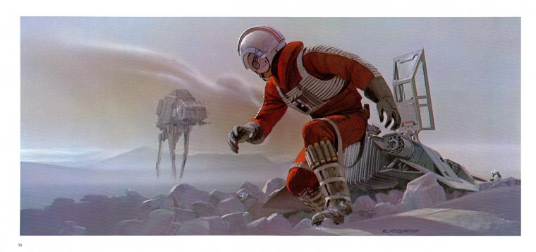 Star Wars Luke Skywalker Hoth Snow Speeder Ralph McQuarrie wallpaper