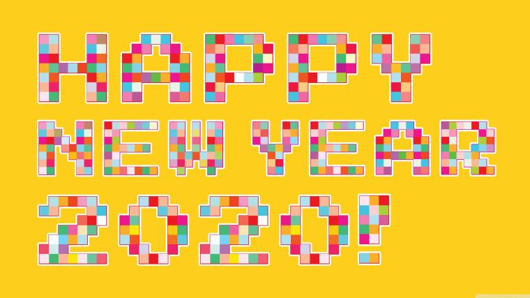 Happy New Year 2020 Pixel Art 4K HD Desktop Wallpaper for 4K