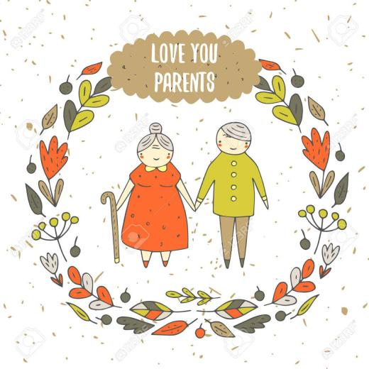 Cute Hand Drawn Doodle Card Background With Parents Old Couple