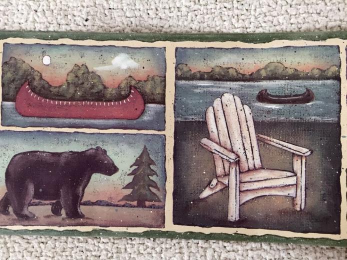 Rustic Lodge Wallpaper Border with Bear Canoes and Lake eBay
