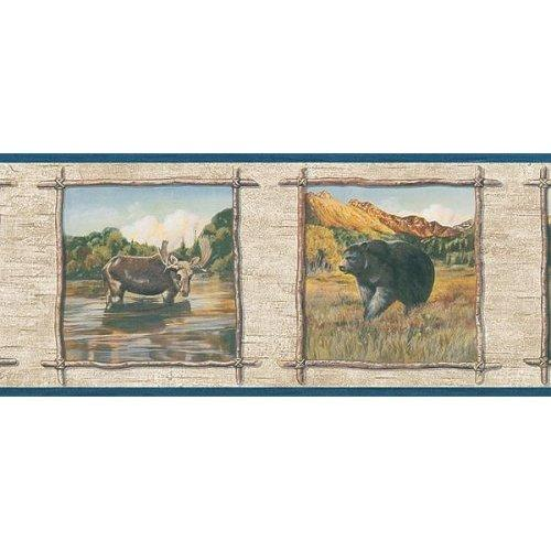 com   Blonder Wallpaper Border   Wildlife Bear Wolf Moose Rustic