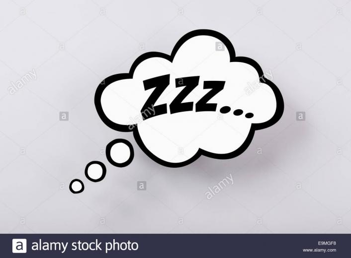 Snoring sign in thought bubble against gray background Stock Photo