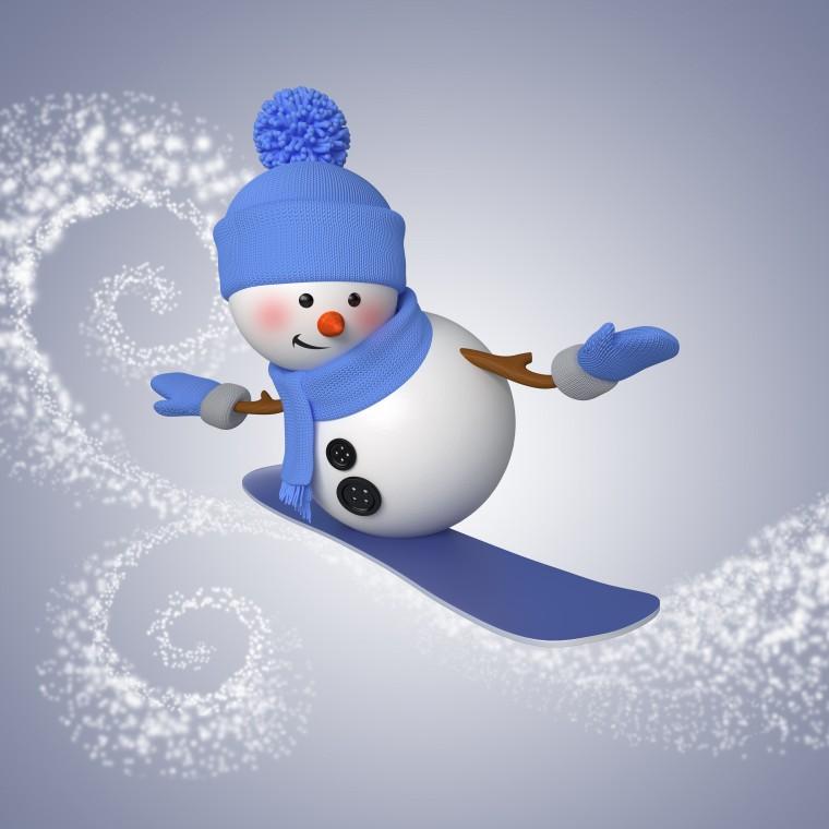 Wallpaper snowman 3d cute christmas new year snowman snowboard
