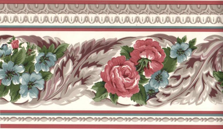 Burgundy Blue Scroll Leaf Flower Floral Rose Wall paper Border