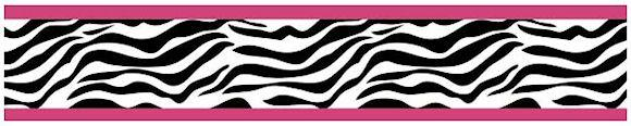 Zebra Print Wallpaper Border Pink Black White for Girls