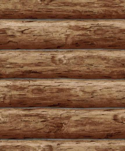 Details about Wallpaper Designer Rustic Log Cabin Brown Wood Log Wall