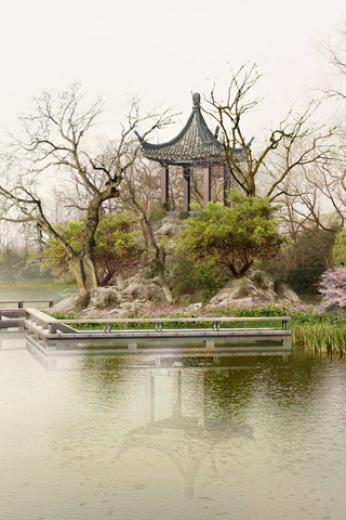 Chinese style architecture and garden iPhone HD Wallpaper iPhone HD
