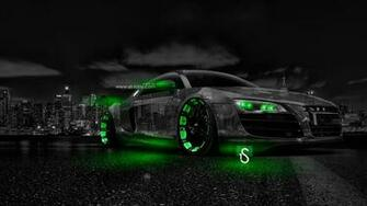 Audi R8 Crystal City Car 2014 Green Neon HD Wallpapers design by Tony