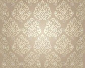 White damask ornament on beige background   seamless wallpaper 37288