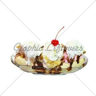 Banana Split Isolated On White Background With