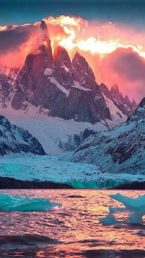 Snowy mountain with orange sky Wallpaper for Amazon Kindle Fire HD 89