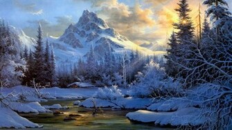 Download Wallpaper Winter mountain landscape   1366x768