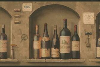 Wine Bottles Wallpaper Border NV9652B Wine Kitchen Decor