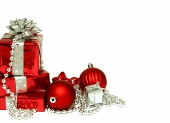 Christmas wallpapers Red Christmas decorations and gifts on Christmas