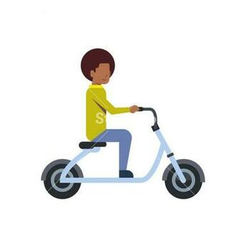 african boy riding electric scooter over white background