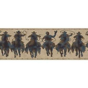 Home Western Rodeo Cowboy Patina Silhouettes Wallpaper Border