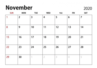 November 2020 Calendar ImageIllustoon