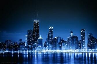 wallpaper Chicago blue night city lights desktop wallpaper