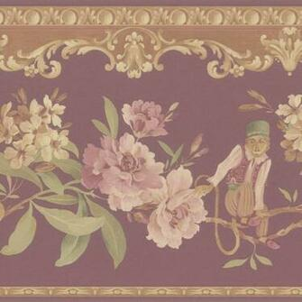Burgundy Monkey Floral Border Wallpaper   Contemporary   Wallpaper