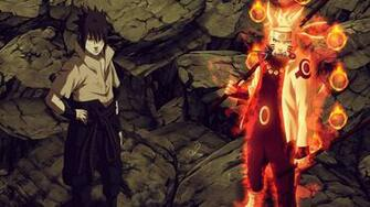 sasuke uchiha sharingan rinnegan eyes and naruto uzumaki sage of six