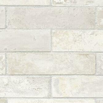 Off White Cream Grey Beige Brick with Grey Grout Wallpaper LL29532