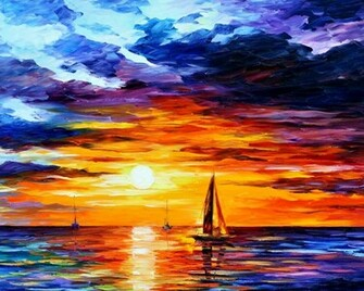 Sunset Boat Leonid Afremov   Wallpaper 33300