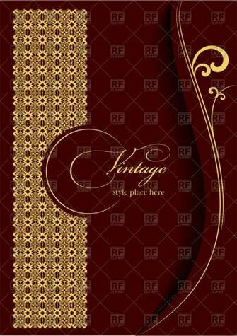 Elegant gold ornament on burgundy background   Template for brochure