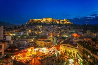 Wallpapers Greece Town square Athens Attica Evening Cities Building