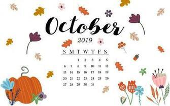 Cute October 2019 Calendar Pink Designs Floral Wall Calendar