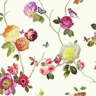 Flower Pattern Bird Butterfly Rose Floral Motif Wallpaper 889801